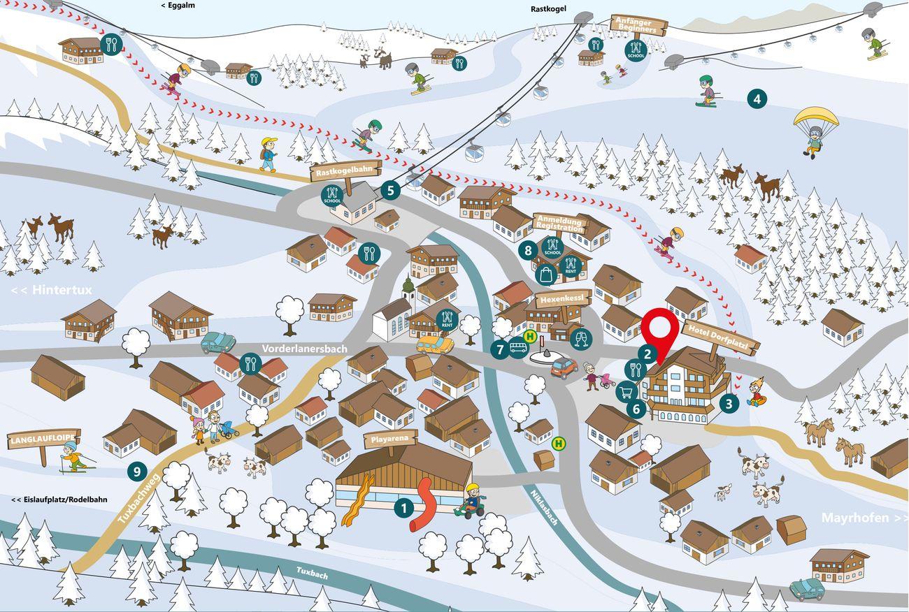 Lageplan Dorfplatzl Winter ©Illugra